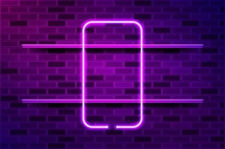 Smartphone frame glowing neon sign or LED strip light. Realistic vector illustration. Purple brick wall, violet glow, metal holders. Ilustração Vetorial