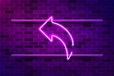 Left reply arrow glowing neon sign or LED strip light. Realistic vector illustration. Purple brick wall, violet glow, metal holders. Illustration