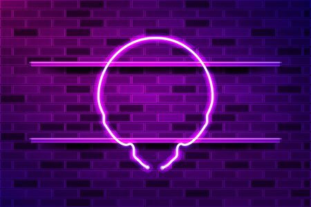 Alien skull glowing neon sign or LED strip light. Realistic vector illustration. Purple brick wall, violet glow, metal holders.