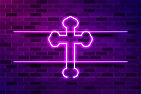 Byzantine cross glowing neon sign or LED strip light. Realistic vector illustration. Purple brick wall, violet glow, metal holders.