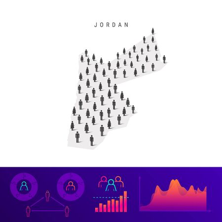 Jordan people map. Detailed vector silhouette. Mixed crowd of men and women icons. Population infographic elements. Vector illustration isolated on white.