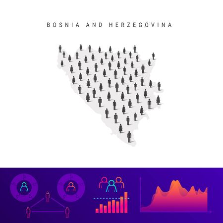 Bosnia and Herzegovina people map. Detailed vector silhouette. Mixed crowd of men and women icons. Population infographic elements. Vector illustration isolated on white.