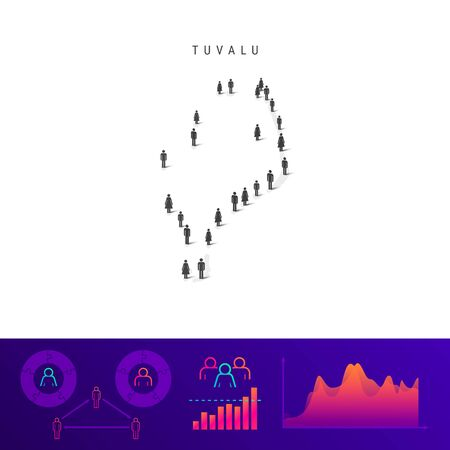 Tuvalu people map. Detailed vector silhouette. Mixed crowd of men and women icons. Population infographic elements. Vector illustration isolated on white.