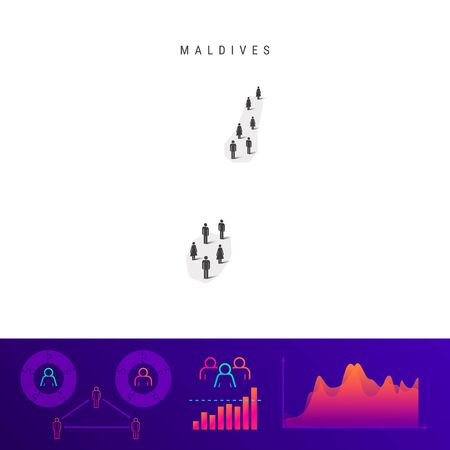 Maldivian people map. Detailed vector silhouette. Mixed crowd of men and women icons. Population infographic elements. Vector illustration isolated on white.