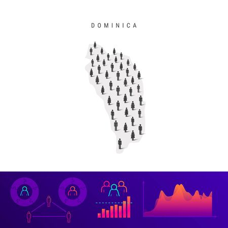 Dominica people map. Detailed vector silhouette. Mixed crowd of men and women icons. Population infographic elements. Vector illustration isolated on white.