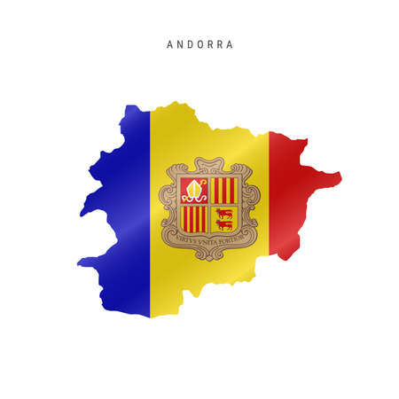 Detailed waving flag map of Andorra. Vector map with masked flag.