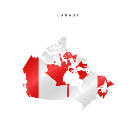 Detailed waving flag map of Canada. Vector map with masked flag. 写真素材 - 150578158