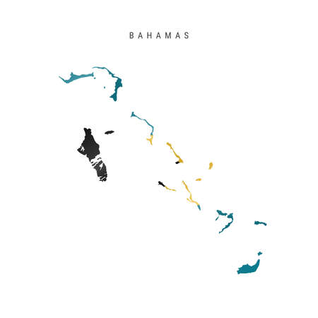 Detailed waving flag map of the Bahamas. Vector map with masked flag. 写真素材 - 150578159