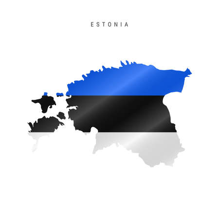 Detailed waving flag map of Estonia. Vector map with masked flag. 写真素材 - 150578160