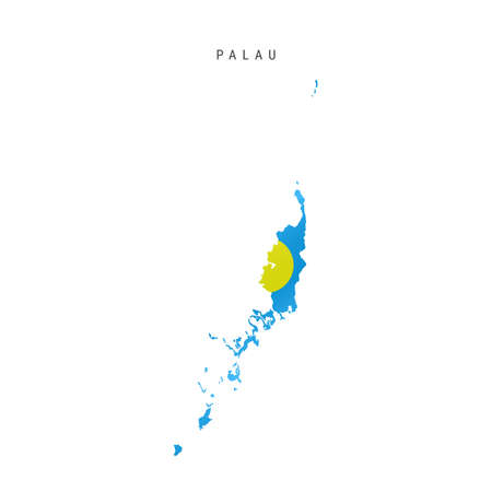 Detailed waving flag map of Palau. Vector map with masked flag. 写真素材 - 150578161
