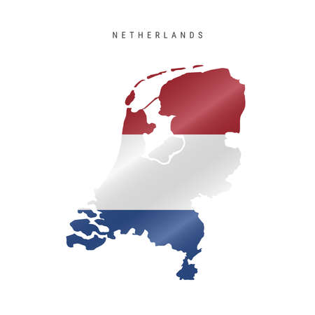 Detailed waving flag map of Netherlands. Vector map with masked flag. 写真素材 - 150578162