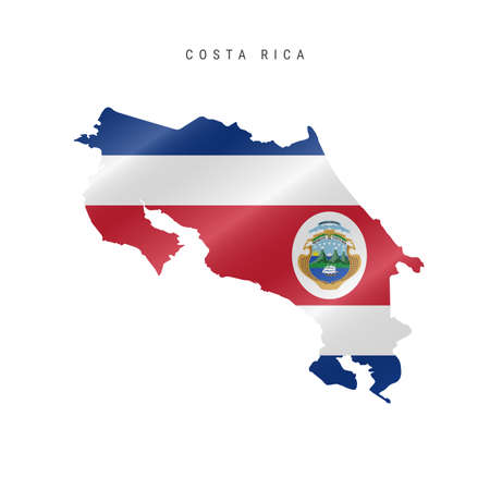 Detailed waving flag map of Costa Rica. Vector map with masked flag. 写真素材 - 150578179