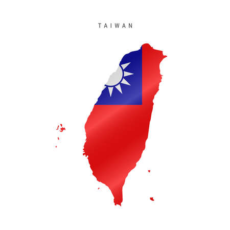 Detailed waving flag map of Taiwan. Vector map with masked flag.