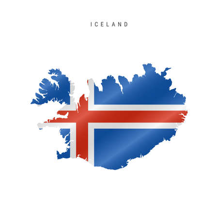 Detailed waving flag map of Iceland. Vector map with masked flag. 写真素材 - 150578182