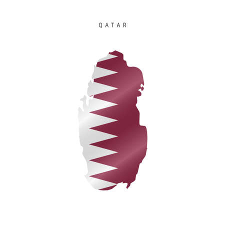 Detailed waving flag map of Qatar. Vector map with masked flag. 写真素材 - 150578183