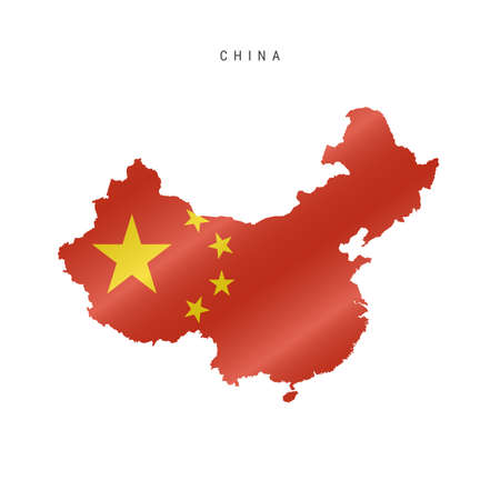 Detailed waving flag map of China. Vector map with masked flag.