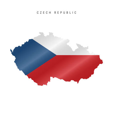 Detailed waving flag map of Czech Republic. Vector map with masked flag.