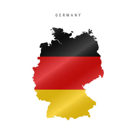 Detailed waving flag map of Germany. Vector map with masked flag.