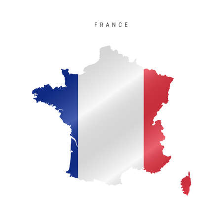 Detailed waving flag map of France. Vector map with masked flag. 写真素材 - 150578195