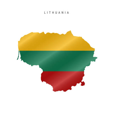 Detailed waving flag map of Lithuania. Vector map with masked flag. 写真素材 - 150578196