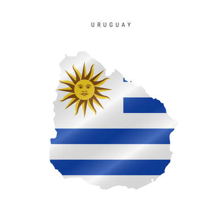 Detailed waving flag map of Uruguay. Vector map with masked flag. 写真素材 - 150578198