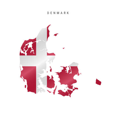 Detailed waving flag map of Denmark. Vector map with masked flag.  イラスト・ベクター素材