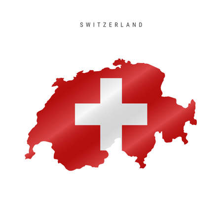 Detailed waving flag map of Switzerland. Vector map with masked flag. 写真素材 - 150578322