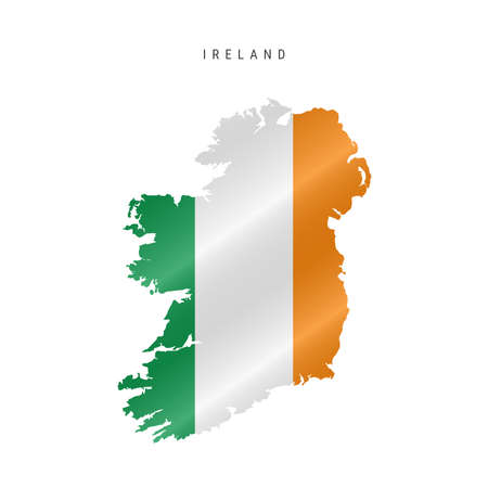 Detailed waving flag map of Ireland. Vector map with masked flag.