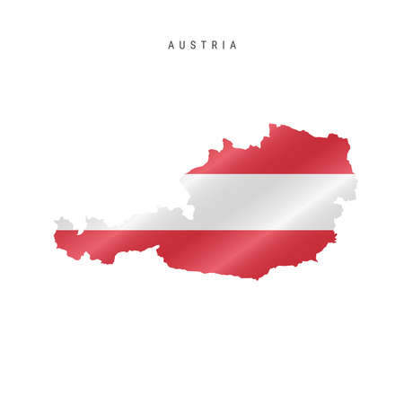 Detailed waving flag map of Austria. Vector map with masked flag. 写真素材 - 150575766