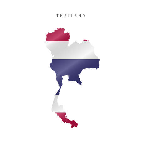 Detailed waving flag map of Thailand. Vector map with masked flag. 写真素材 - 150575811