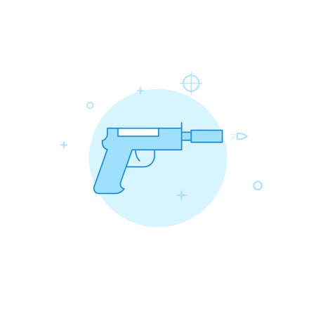 Silenced pistol vector icon. Flat illustration. Filled line style. Blue monochrome design. Editable stroke. Adjust line weight.