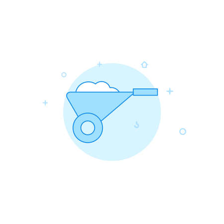 Wheelbarrow vector icon. Flat illustration. Filled line style. Blue monochrome design. Editable stroke. Adjust line weight. Illustration