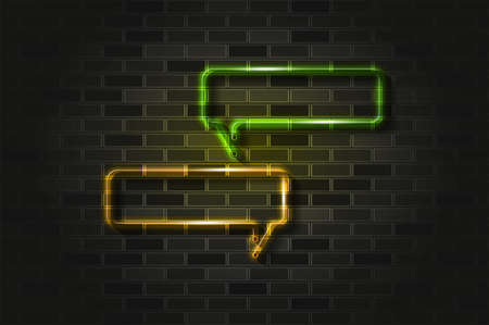 Narrow horizontal square speech or chat bubbles glowing neon sign or glass tube. Realistic vector illustration. Black brick wall, soft shadow.