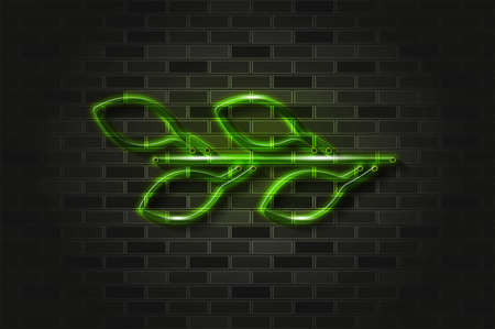 Branch with leaves green glowing neon sign or glass tube. Realistic vector illustration. Black brick wall, soft shadow. Illusztráció