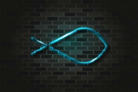 Ichthys, Christian fish blue glowing neon sign or glass tube. Realistic vector illustration. Black brick wall, soft shadow.