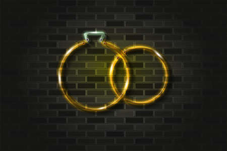 Bridal rings golden glowing neon sign or glass tube. Realistic vector illustration. Black brick wall, soft shadow.