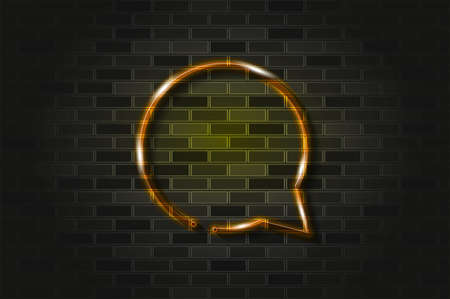 Round chat bubble glowing neon sign or glass tube. Realistic vector illustration. Black brick wall, soft shadow.