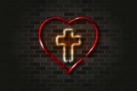 Cross and heart, Jesus in the heart glowing neon sign or glass tube. Realistic vector illustration. Black brick wall, soft shadow.