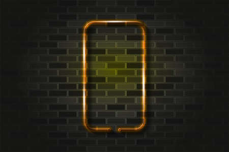 Smartphone vertical frame, gadget glowing neon sign or glass tube. Realistic vector illustration. Black brick wall, soft shadow.