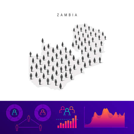 Zambia people map. Detailed vector silhouette. Mixed crowd of men and women icons. Population infographic elements. Vector illustration isolated on white.