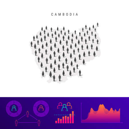 Cambodia people map. Detailed vector silhouette. Mixed crowd of men and women icons. Population infographic elements. Vector illustration isolated on white.
