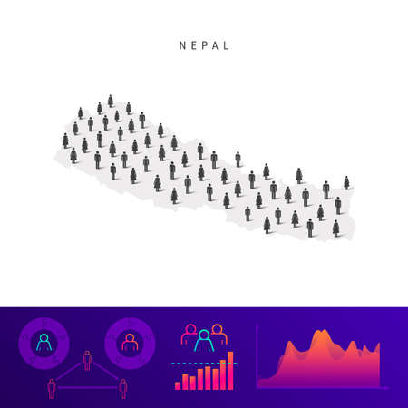 Nepal people map. Detailed vector silhouette. Mixed crowd of men and women icons. Population infographic elements. Vector illustration isolated on white.