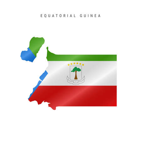 Detailed waving flag map of Equatorial Guinea. Vector map with masked flag. 向量圖像