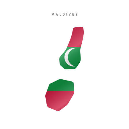 Detailed waving flag map of Maldives. Vector map with masked flag.