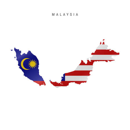 Detailed waving flag map of Malaysia. Vector map with masked flag.