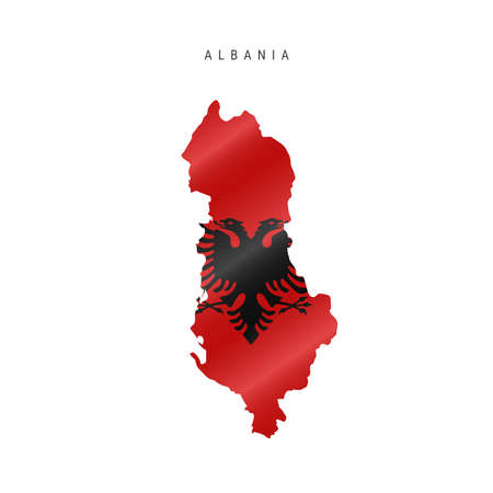 Detailed waving flag map of Albania. Vector map with masked flag. Illustration