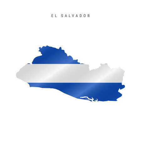 Detailed waving flag map of El Salvador. Vector map with masked flag.