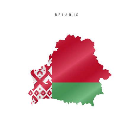 Detailed waving flag map of Belarus. Vector map with masked flag. Illustration