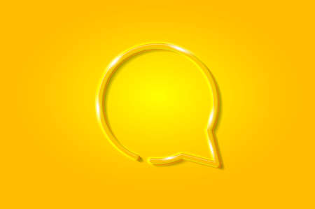 Round chat bubble glowing 3D symbol, card template. Realistic vector illustration. Yellow background. Ilustrace
