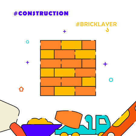 Brick wall, bricklayer, masonry filled line vector icon, simple illustration, related bottom border.
